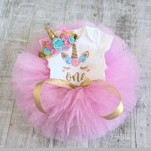 New Unicorn Baby Girl 1st Birthday 3 piece outfit